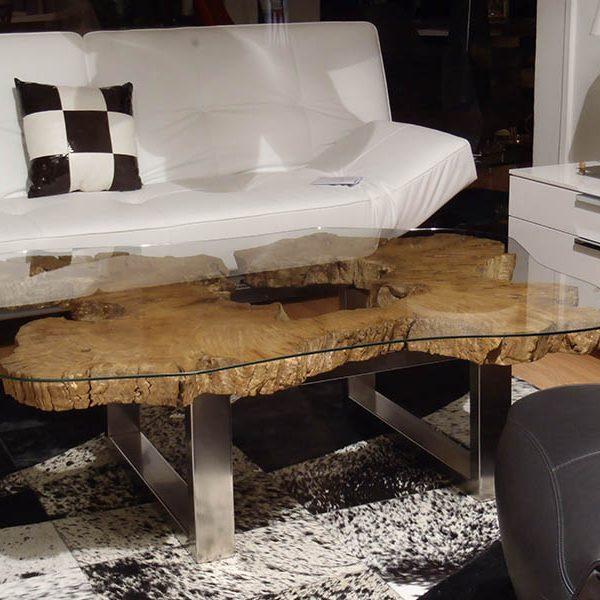 TABLE BASSE tronc d'arbre live edge bords naturels verre